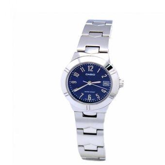 b4002f71e76a Reloj Casio LTP-1241D-2A2- Pulso Acero Inoxidable Plateado Con Azul Para  Mujer