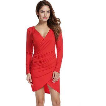 64d54478f38 Compra Vestido Bodycon Manga Larga V cuello para Mujer - Rojo de ...