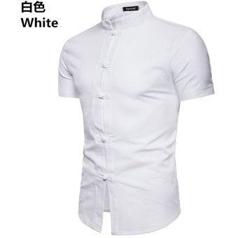 1508579d76 Camisa De Lino De Manga Corta Para Hombre Cuello Alto Camisas Para Hombres
