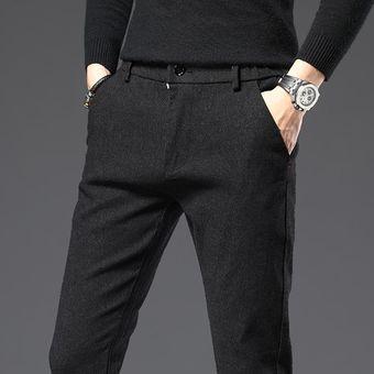 Novedad De Pantalones Para Hombre Pantalones Rectos Para Hombre Pantalones Casuales Inteligentes De Longitud Completa Gruesos Estilo Simple Micro Strech Talla 38 Chun 9038black Linio Peru Ge582fa1aia6blpe