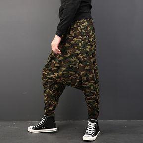 Camuflaje CasualHarem Para Hombre Dance Sport Crotch Trousers cf0f5ef23d9