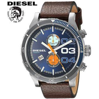 813aee51a3ee Reloj Diesel Double Down DZ4350 Cronometro Acero Inox Correa de Cuero -  Marrón Azul