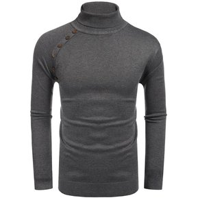 3fc79bf82aba0 Slim Fit Suéter De Punto Con Nervaduras De Cuello Alto Para Hombre - Gris