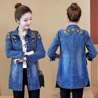 Talla grande bordado de flores chaqueta de mezclilla para mujer chaqueta
