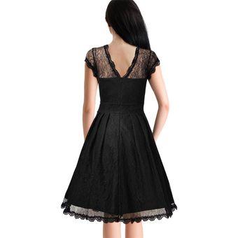 Vestido Casual Generico Manga Corta Gasa Sólido Princesa Falda Negro 47495543ae12