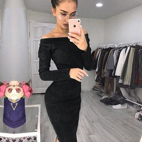 3c5b11ad49 Vestido ajustado de manga larga para mujer Vestidos Casual-Negro