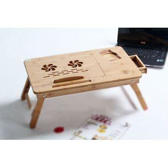 Compra mesa de cama de bamb con base enfriadora de 2 ventiladores para laptop de 17 pulgadas - Mesa para cama ...
