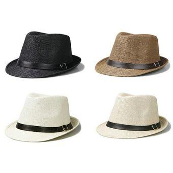 EY Elegante Sombrero De Paja Del Verano Del Casquillo Del Sombrero Salacot  Fedora Trilby Panamá Casquillo cdeb8f95bfc