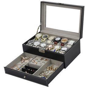 2fa7f9653c85 12 Rejillas Reloj Caja De Exhibición De Almacenamiento De Joyería-Negro