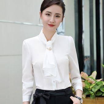 d3cfdb7cc53a2 Blusas Larga Mujer Blusa De Chifón De Volantes Elegantes De Color Sólido