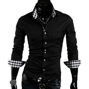 Camisa Hombre Diseño Cuadros - Negro 1da613468a2d6