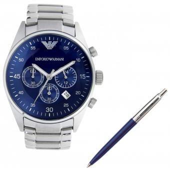 7cc3eeccd20b Agotado Pack Emporio Armani - Reloj Analógico Hombre AR5860 Plateado +  Lapicero Azul