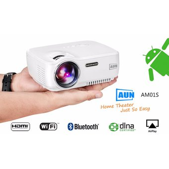 Aun Am01s 1400 Lúmenes Led Mini Proyector Multimedia Proyector De Video Android 4.4 Hd Home Theater (blanco)
