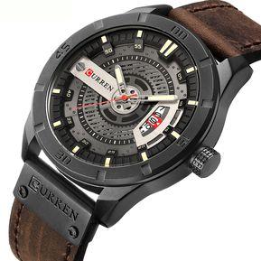 2d6380cfa73f Curren Reloj Militar Moderno Hombre Analogo Banda Piel