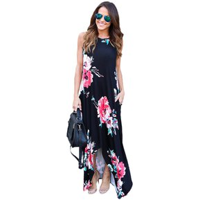 Floral Vestido largo manga corta para mujir Pretchic lc61561-2-negro b1bacf0e1f14