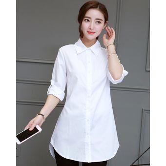 Bf Estilo Blusa Larga Camisa Blanca Vestido Camisa De Vestir De Las Mujeres