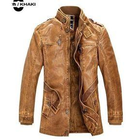 aa87c36e2 Hombre Chaqueta de cuero con cuello alto Invierno-marrón