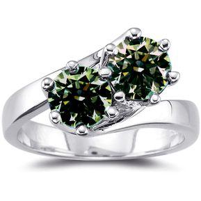 69179ac8200e Anillo de Compromiso Diamantes Verde Marron 2.15 Ct Sic7 Oro Blanco