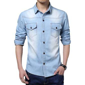 852a2299c7f65 Compra Yucheer Camisa Manga Larga De Jean Para Hombres - Azul Claro ...
