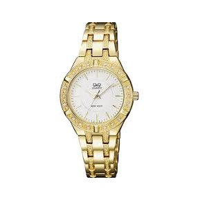 04846f6df651 Reloj Q q Para Dama F557-001y Pulso En Acero Dorado Original