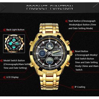 ac35f6ae4af6 Reloj Para Hombre Deporte Militar Reloj De Pulsera De Oro De Acero Lleno  Led Digital Back