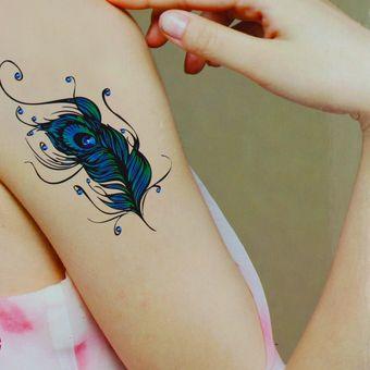 Compra Arte Tatuaje Tatto Corporal Temporal Pluma Pavo Real Online