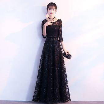 bb884c477 Banquete vestido de noche para mujer Nueva Negro cóctel vestido largo-Negro