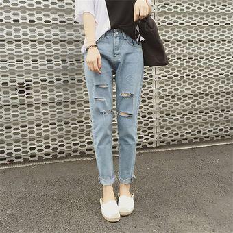 Los Agujeros Rasgados Pantalones Vaqueros Flojos Del Tobillo De Longitud Haren Jeans De Mujeres Para El Otono Del Resorte Linio Peru Ge582fa1gn2ozlpe