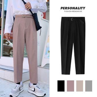 Pantalones Rectos De Estilo Coreano A La Moda Para Hombre Pantalones Informales De Vestir De Color Liso Pantalones Casuales De Vestir Para Hombre Pantalones Holgados Salvajes Para Hombre Xyx Black Linio Peru