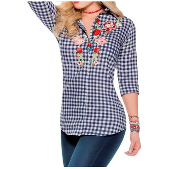 b45a06022 Compra Blusa Adulto Femenino Marketing Personal 31882 Cuadros Azules ...