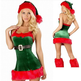 Vestido De Una Pieza De Terciopelo Cosplay De Santa Claus Para Mujer