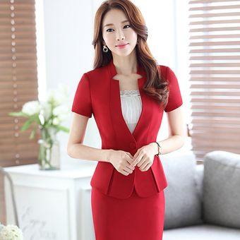 02c7ded40 Trajes Con Chaleco Para Mujer Faldas Y Sacos Formales De Oficina Y Negocio  - Rojo