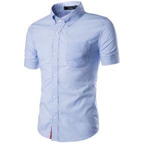 9a82c88fb9 Camiseta Casual De Manga Corta Slim Fit Camiseta Abotonar