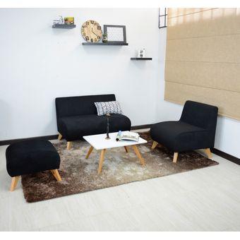Compra juego de sala nova en tela color negro online for Muebles atlantico norte