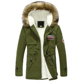 f75aba4ef08e56 Invierno chaqueta acolchada de algodón de longitud media cuello de piel con capucha  abrigo cálido