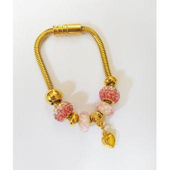 c94e6f2c7957 La Tienda 88 - Pulsera Brazalete Mujer Tipo Pandora Diseño Strass Fucsia  Acero Enchapado Oro Amarillo - Dorado