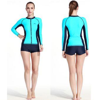 9de60704ea3e Traje de Baño Bañador Mujer Camiseta Manga Larga Surf Spearfishing Swimwear  Azul