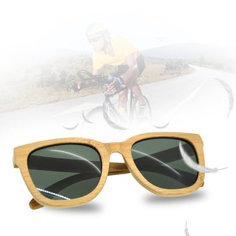 f3a55ede95 EB ZS-G003A Marco De Madera Carbonizada Gafas De Sol-Todas Las Lentes Verdes