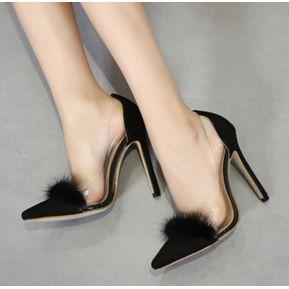 Mujer Sandalias De Tacon Zapatos Con Piel Decorado Elegante De Color Negro 49c3f65d24b