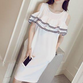 Vestido Casual E-Thinker para mujer con borde de volante y rayas - Blanco 3091d937501f
