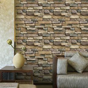 406905eb97945 Papel Tapiz 3D Efecto Texturizado Papel Pintado Ladrillo De Piedra Para  Pared De Decoración Casa
