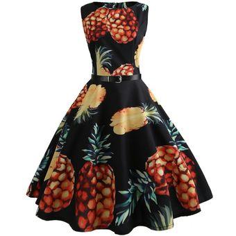 a97da585c Vestidos Mujer Cuello Redondo Sin Mangas Estampado Rosa Vestido Vintage