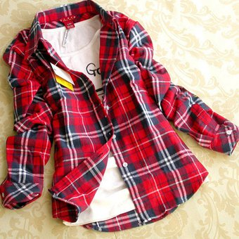 1985141188 Yucheer Blusa Camisa Manga Larga Cuadros Algodón Para Chica Mujer - Blanco Y  Rojo