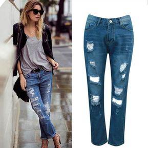 0829273c408 Pantalones Pantalón Crudo Dobladillo-Azul