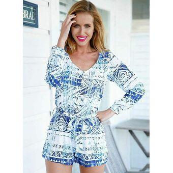 97998029ff Mono Corto Jumpsuit Geometría Cuello En V Casual Ropa Para Mujer - Azul Y  Blanco