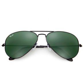 8ed011d781351 Ray Ban Aviator 3026 L2821 Marco Negro Lente Verde 62mm Gafas de Sol