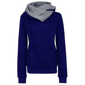8b222d2bbc1 Nueva mujer otoño solapa suéter manga larga de las mujeres-azul profundo