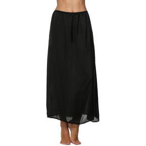 3b569971268e Maxi Falda Enaguas Medio Deslizamiento Satén Sólido De Cordón Del Ajuste  Para Mujer - Negro