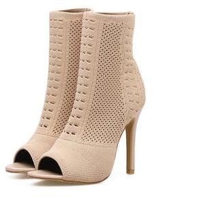 dafb05eaa1 Sandalias Botas De Tacon Fashion-Cool Para Mujer-Albaricoque