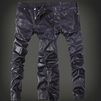 Pantalones De Cuero Bordados De Marca De Moda Pantalones Para Hombre Pantalones De Cuero De Club Linio Chile Ge018fa1f5311lacl
